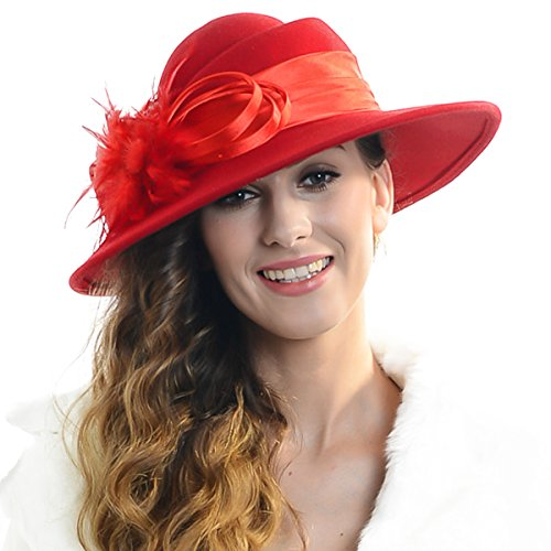 FORBUSITE Women Wool Felt Hats Church Dress Hat for Winter, Large Brim Red
