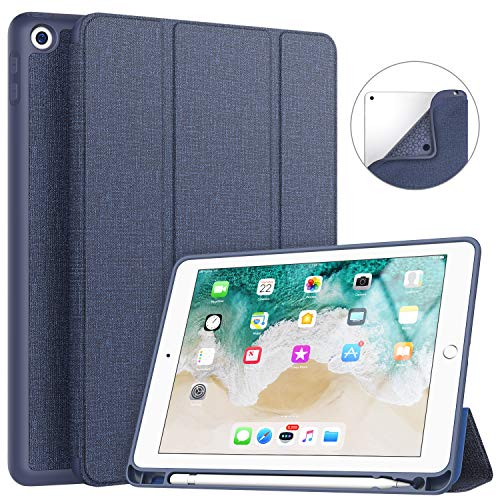 Soke iPad 9.7 2018/2017 Case with Pencil Holder, Smart iPad Case Trifold Stand with Shockproof Soft TPU Back Cover and Auto Sleep/Wake Function for iPad 9.7 inch 5th/6th Generation, Navy Blue