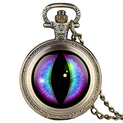 BABYCOW Reloj de Bolsillo Retro para Hombre Reloj de Bolsillo con patrón de pupila Vertical púrpura para niño Relojes de Bolsillo Digitales árabes para Adolescentes