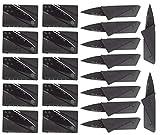 Garberiel 20 Pack Credit Card Knife Multifunction Folding Blade Knives, Black Stainless Steel Blade and Plastic Handle Mini Pocket Knife