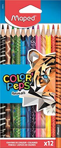 Maped - ergonomische Drei-Kant-Buntstifte, Farbstifte COLOR'PEPS ANIMALS - mit Tiermotiven - 12x Stifte