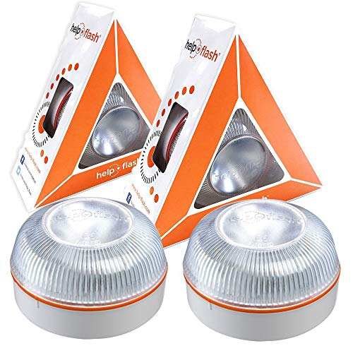 HELP FLASH PK2844 2X luz de Emergencia AUTÓNOMA-Señal preseñalización de Peligro y Linterna, homologada, autorizada por la DGT V16, Base imantada, activación AUTOMÁTICA, 2 Unidades