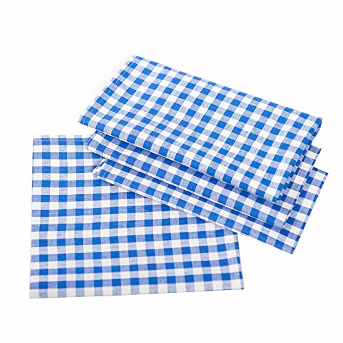 Landhaus Tischdecken in Karo - Farbe und Größe wählbar - 100% Baumwolle (100x100 cm, blau-weiß kariert)