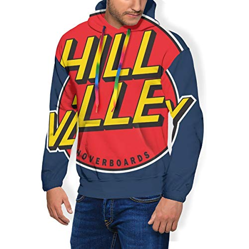 Hill Valley Herren Fashion Sweatshirt Hoodie Pullover Taschen Plus Samt Hoverboards Back To The Future Gr. Small, Schwarz