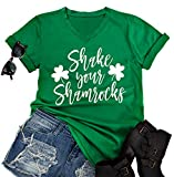 Material: Cotton Blend. Soft, Stretchy, Breathable Feature: Shake Your Shamrocks Shirt,Shamrocks Print Tee,Short Sleeve Letter Print Tops,V Neck Tee Shirts Do You Love St. Patrick's Day? Whether You're Irish And Have Irish Pride, Or Just Love Shamroc...