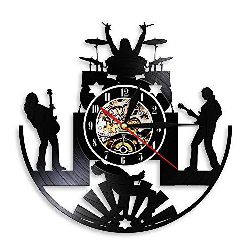 FDGFDG Banda de Rock Grupo de música Reloj de Pared batería de Rock Baterista Banda de Heavy Metal Guitarrista Tocando el Escenario Escenario Disco de Vinilo Reloj de Pared