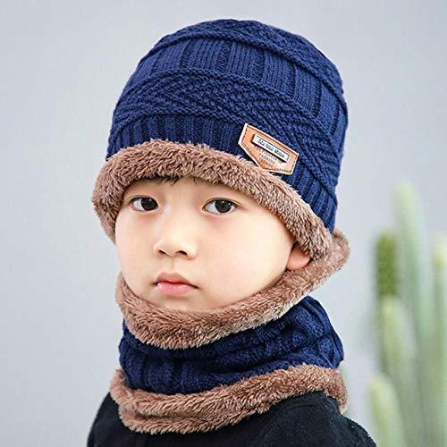 XCLWL mutsen voor dames, winter, gebreide muts voor kinderen, sjaal, winter, schattige hoed, zachte sjaal, warm plus fluweel, verdikte muts voor het hoofd, casual kleding voor kinderen, meisjes 06 55 – 60 cm