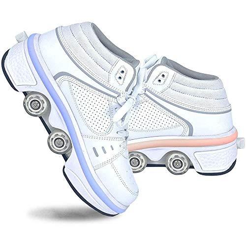 AQSG Roller Skates, Skating-Schuhe Für Männer Und Frauen Automatische Wanderschuhe Für Erwachsene Unsichtbare Riemenscheibenschuhe Skates Mit Zweireihigem Deform-Rad,White-40