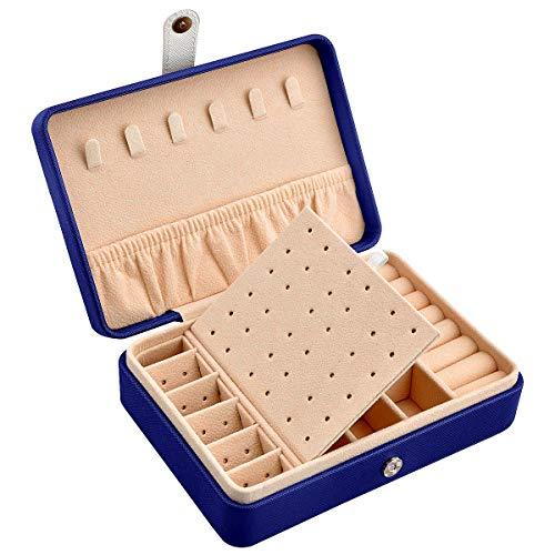 Reise Schmuckkästchen Damen Schmuckkasten Mädchen Schmuckaufbewahrung Reiseschmuckkästchen Schmuckschatulle Schmuckbox Schmucketui Schmuckkiste Schmuck Aufbewahrungsbox Jewelry Box PU Leder (Blau)