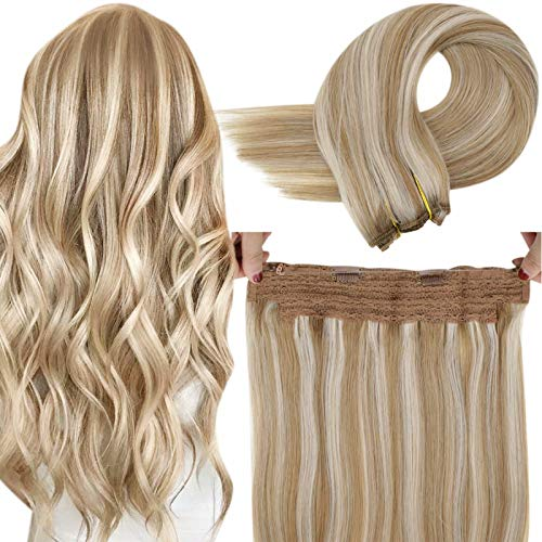 """LaaVoo Remy Halo Hair Extensions Human Hair with Secret Wire Highlighted Light Golden Brown to Light Blonde Invisible Halo Hairpiece Extensions Blonde Highlight 80g 14"""""""