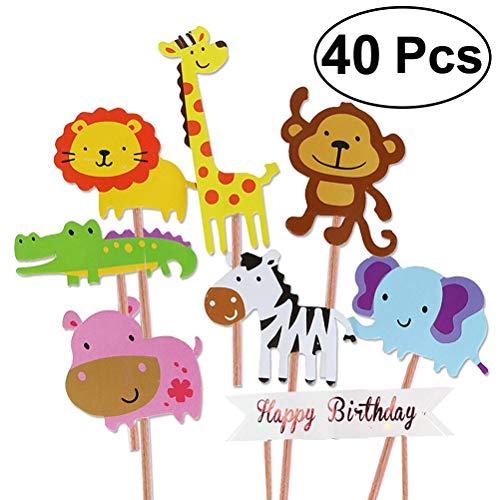 Unique Store 40 Stück Zoo Tier Cupcake Toppers für Kinder Baby Party Geburtstag Party Kuchen Dekoration Supplies Löwe Nilpferd AFFE Elefant Zebra Giraffe Krokodil