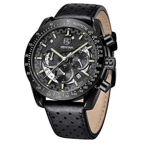 BY BENYAR Sport Casual Cronógrafo Reloj analógico Impermeable de Cuarzo con Movimiento de Cuarzo y Banda de Cuero para Hombre