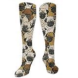 Calcetines Largos de algodón de Invierno para Mujer Calcetines de compresión graduados hasta la Rodilla Imagen De Pug, Perro y Calcetines de Papel Tapiz