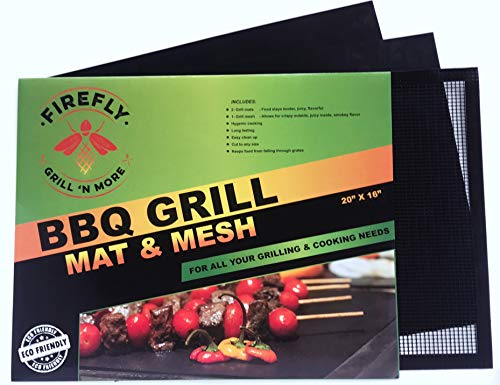 Firefly Grill 'n More Grill Mat & Grilling Mesh, Non-Stick, Heavy Duty, Large 16' x 20', Reusable Set Of 3, BBQ Grilling Accessories For Gas, Charcoal, Electric, Pellet, Smoker, & Indoor Cooking