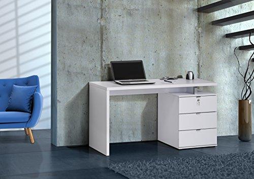 lisel-de Modell 2016 Computertisch Schreibtisch Maja in ICY Weiß/Weiß Hochglanz 140x75x60cm