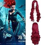 LJYNB 80 cm / 31'película Aquaman Mera cosplay peluca Mujer Mera peluca de pelo largo ondulado rojo Mera disfraces con gorro de pelo gratis