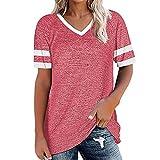 Camisa casual de verano para mujer Camisetas de béisbol Manga corta Cuello redondo Camiseta corta Cuello en V Camisa holgada de verano informal Tops de gran de bloque de color de retazos transpirables