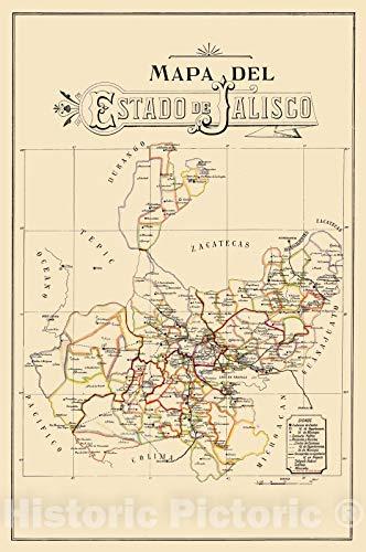 Historic Pictoric Map : Jalisco, Mexico 1923, Mapa del estado de Jalisco, Antique Vintage Reproduction : 16in x 24in