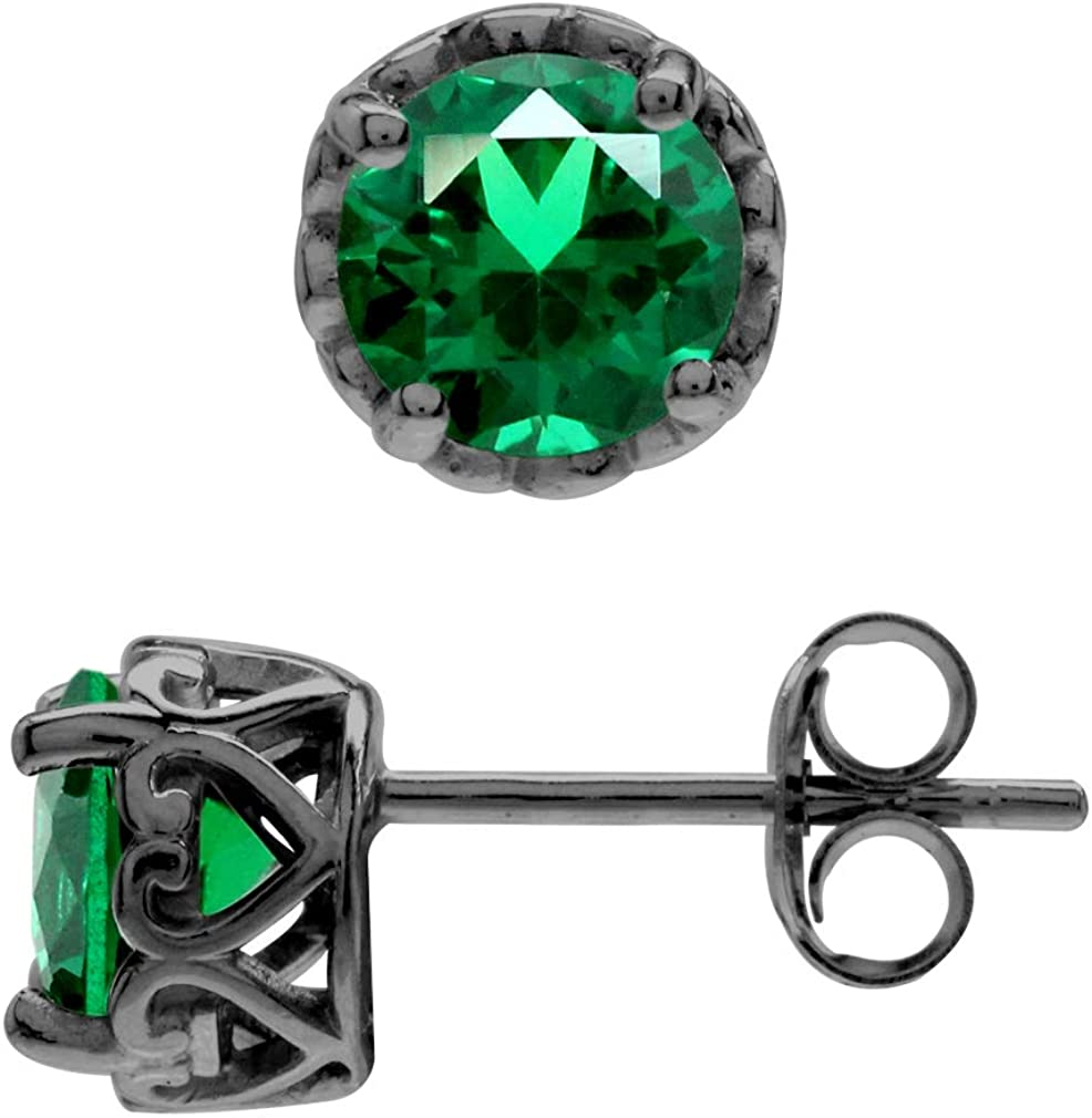 Silvershake 6 mm Birthstone Gemstones Black S Rhodium Inventory cleanup selling sale Plated 925 gift