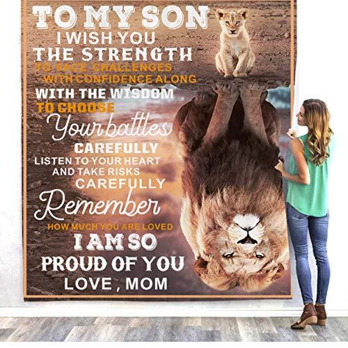 To My Son I Wish You The Strength Sherpa Manta cálida de forro polar suave, manta de felpa para sofá, TV, sofá, cama, cama de viaje, colcha de 150 x 200 cm