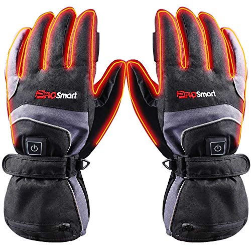 PROSmart Beheizte Handschuhe Elektrisch Beheizbare Handwärmer mit Akku für Frauen Männer Skifahren Snowboarden (Schwarz+Grau, L)