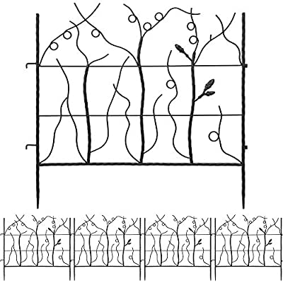 Amagabeli Decorative Garden Fence 27in x 12ft Outdoor Coated Rustproof Metal Garden Fencing Panel Animal Barrier Iron Folding Edge Wire Border Fence Ornamental for Patio Landscape Vegetable Flower Bed