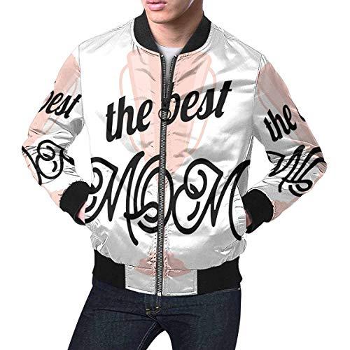 INTERESTPRINT Men's Lightweight Jacket Windbreaker Happy Mothers Day Holiday I Love You, The Best Mom M