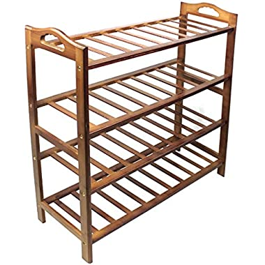 HQdeal Bamboo Shoe Rack 4 Tiers Free Standing Shoe Tower Storage Organizer Shelf Boot Stand for Entry Closet Adjustable Eco-Friendly