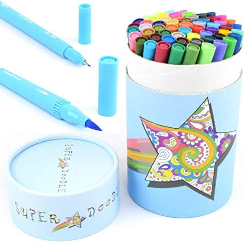 Super Doodle Dual Tip Coloring Markers Fineliner Brush Pens - 60 Color Water-Based Art Marker Pen Set for Bullet Journal, Calligraphy, Lettering, Kids Drawing and Adult Coloring Books