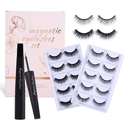 Magnetisches Wimpernset, 10 Paar Falsche Wimpern 2 Arten von Wimpern, Trimmbar Wiederverwendbar Anfängerwimpern