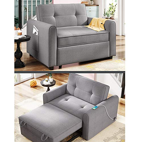 Convertible Chair Bed 3-in-1 with USB Charge Port, Sleeper Chair Bed, Multi-Functional Adjustable Recliner, Sofa, Bed, Single Bed Chair with Elegant Linen Fabric