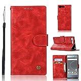 Cas de protecteur de téléphone Pour Sony Xperia XZ Premium Rétro Bouton En Cuivre Crazy Horse...