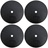 A2ZCARE Standard Cast Iron Weight Plates 1-Inch Center-Hole for Dumbbells, Standard Barbell 10, 15, 20, 25 lbs (Single and Pair) (5lbs - Set of 4)