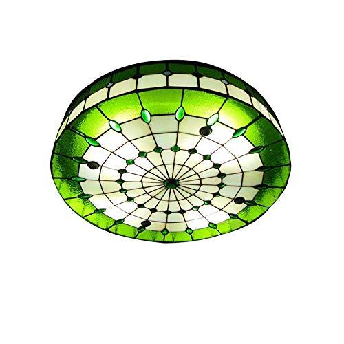LYDQ Tiffany Modern Stil Deckenlampe, Halb Eingebettet Mittelmeer Handgemacht Grün Runder Glas Schatten Deckenleuchte Für Hotel Restaurant Küche Hängeleuchte,40cm