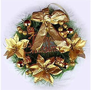 Christmas Party Flower Christmas Garland Door Hanging Ornaments Room Christmas Tree Pendants for Decoration(Golden)