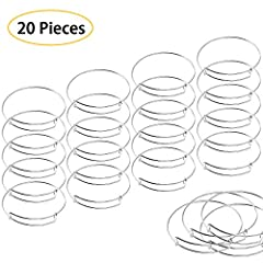 "Pack with 20 pieces silver expandable bangles, made of premium quality steel wire, smooth surface, solid and durable. The inside diameter of bracelet is 65mm/2.6"", suitable for most people's wrist demands, comfortable to wear. Expandable design make ..."