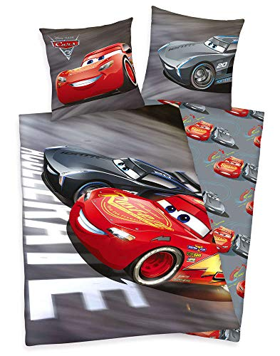 Herding Disney Cars 3 Bettwäsche-Set, Wendemotiv, Bettbezug 140 X 200 cm, Kopfkissenbezug 70 x 90 cm, Schwarz/rot