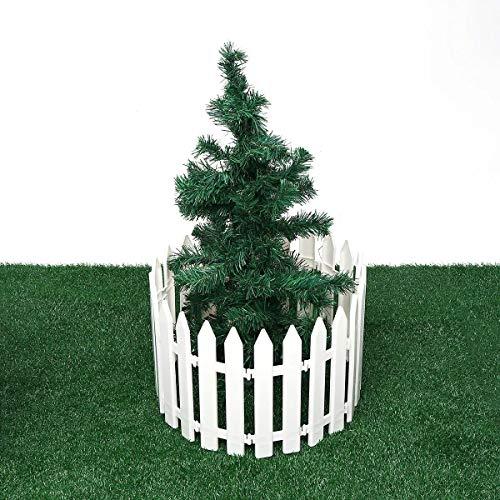 Garten Streikposten Zaun Panels 12st Kunststoff Zaun Dekorationen Weißes Haus Weihnachten Weihnachtsbaum Ornamente Miniatur-Border Gras Rasen Rand Zaun Weiß Für Pflanzenränder und Blumenbeete