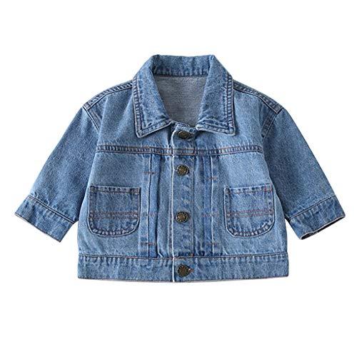 Daytwork Mode Jeans Jacke Outwear - Bedruckt Jungen Mädchen Baby Einreiher Herbst Langarm Mantel