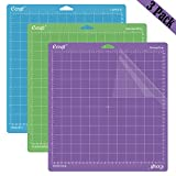 Ecraft 12'X12' Cutting Mat For Cricut - Include StrongGrip/StandardGrip/LightGrip (3 pack) Flexible Square Gridded Quilting Cut Mats Replacement for Crafts、Sewing and All Arts.(Variety)