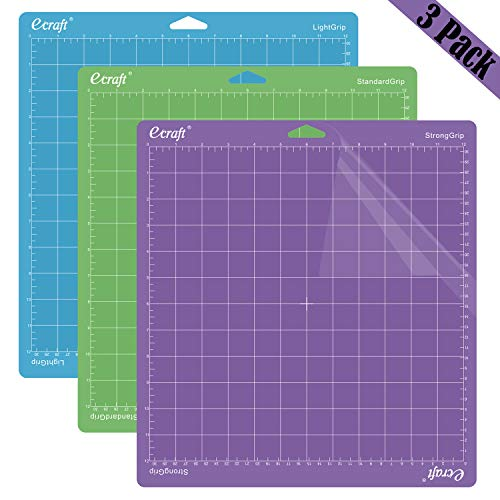 Ecraft 12quotX12quot Cutting Mat For Cricut  Include StrongGrip/StandardGrip/LightGrip 3 pack Flexible Square Gridded Quilting Cut Mats Replacement for Crafts、Sewing and All Arts(Variety