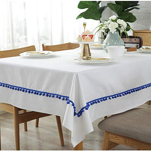 XY&XH Mantel de algodón de Tela Acolchada Blanca Pura, Mantel de Bolas de Pelo Azul, 120 * 120 cm