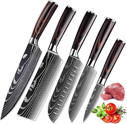 MDHAND küchenmesser Profi Messer Set, Scharfe Kochmesser aus Edelstahl in Mehreren Größen mit Bequemen Griff, Verschiedene Größen von scharfen küchenmesser Set, Rostschutz-kochmesser (5PCS)