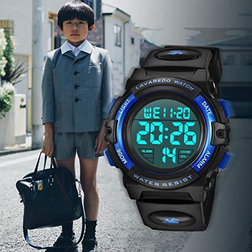 Montre Enfant Garçon Adolescent Digitale Outdoor Sport Multifonction Étanche LED Lumière Alarme...