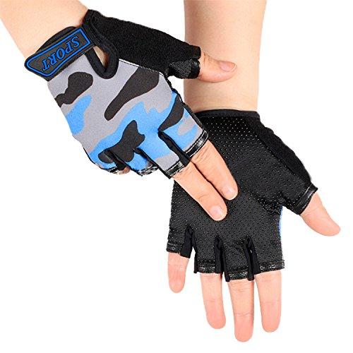 RUIXIB Kinder Halbfinger Handschuhe Fingerlos Handschuhe Fahrradhandschuhe Outdoor rutschfest Atmungsaktive Radhandschuhe Sporthandschuhe für Radfahren Fitness für Junge Mädchen