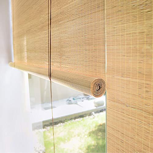 Zlovne Persiana de Bambú,Estor Enrollable de Bambú,Cortina de Bambú 65% de Aislamiento Térmico,Estilo de Granja Cortina de Partición,para el Hogar/Cocina/Oficina/Gazebo (Wood,W140xH180cm/55x71in)