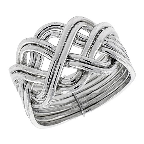 Sterling Silver 8-Piece Braided Celtic Loop Design Puzzle Ring Band, 5/8 in. (16 mm) Wide, Size 7.5