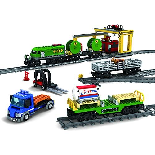 WWEI Tecnica City, treno merci, mattoni da costruzione, mattoni, treno con set di binari, 985 pezzi, giocattolo da costruzione, compatibile con Lego 60197, versione tecnico-dinamica