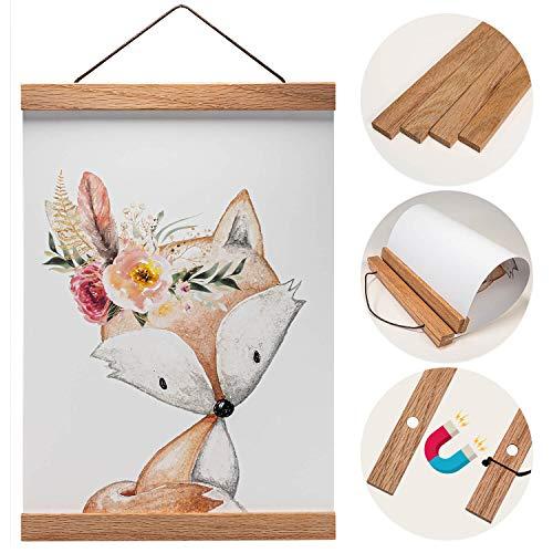 Holz Bilderrahmen hochwertig aus Eiche für Wandbilder, Poster und Fotos magnetisch DIN A4 | Posterleiste Posterschiene Holzrahmen Bilderleiste Klemmleiste (21cm, Eiche)