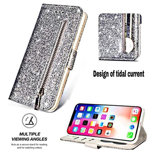 para iPhone 11/iPhone 11 Pro/iPhone 11 Pro MAX Estuche Funda para teléfono con Brillo de Moda para Mujer Flip Wallet Case con Bolsillo en Efectivo Correa para la muñeca